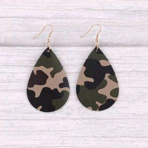 Camo print Leather Tear Drop Earrings. Box E